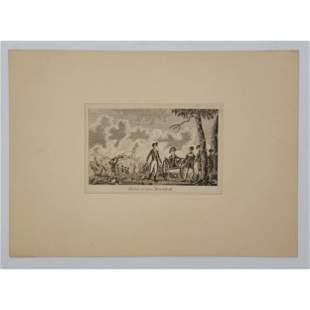 18Th C Revolutionary War Engraving Defeat Gen Braddock