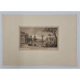 18Th C Revolutionary War Engraving Indian Treaty