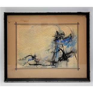 Chinese? Abstract Watercolor Painting Un-Signed