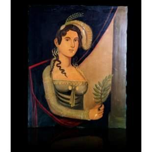 Antique Portrait Painting Of A Lady Zedekiah Belknap??