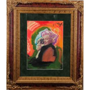 Marilyn Monroe Mix Media Painting After Peter Max