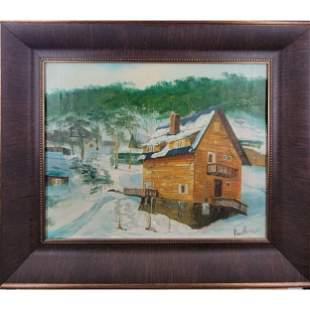 After Henry Faulkner 1924-81 Snow Landscape Painting