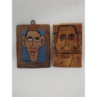 "Pair of Primitive Folk-Art Paintings ""BARACK OBAMA"""