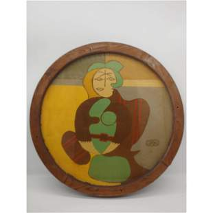 Framed Folk Art Painting on Wood Signed GAW