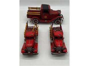 Vintage Lot Of 3 Friction Tin Fire Trucks