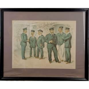 "Antique Vincent Brooks Lithograph ""AT COWES THE R.Y.S"""