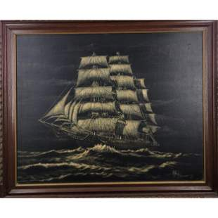Mid Century Modern O/C Clipper Ship Painting Signed