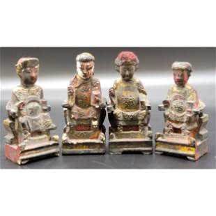 4 Old Hand Carved Chinese Wood Figures