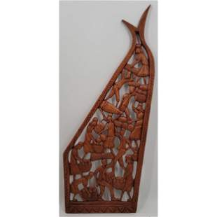 Carved Haitian Wall Art Signed Abner