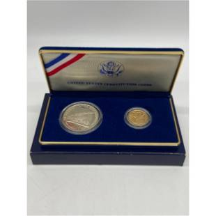 1987 US GOLD & SILVER PROOF CONSTITUTION COIN SET