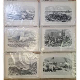 6 Antique Civil War Engravings Battle Scenes 19th C