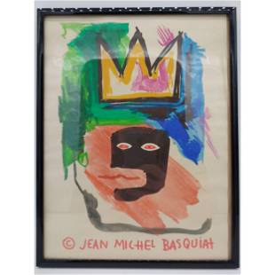 Jean-Michel Basquiat (AFTER) Ink Drawing