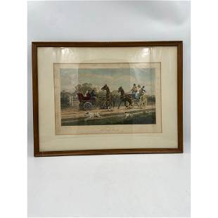 """Antique 1906 Colored Engraving """"Past And Present"""" By Gi"""