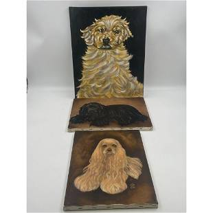 A Collection Of 3 Oil On Canvas Dog Portrait Paintings