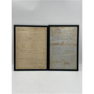 Pair Of Antique Land Deeds From 1850's Indiana USA