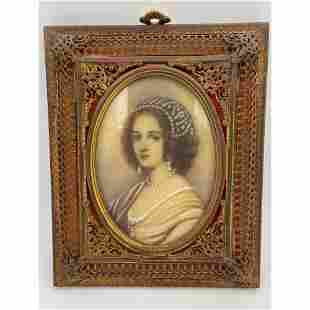 A Signed Antique Portrait Painting Of A Noble Lady In G