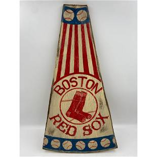 A Hand-Painted Boston Red Sox Megaphone Wall Hanging