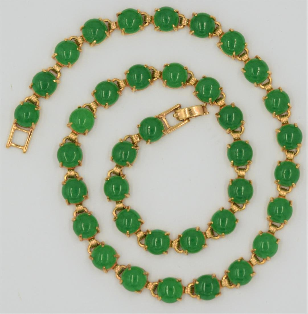 Chrysoprase and Gold Filled Necklace