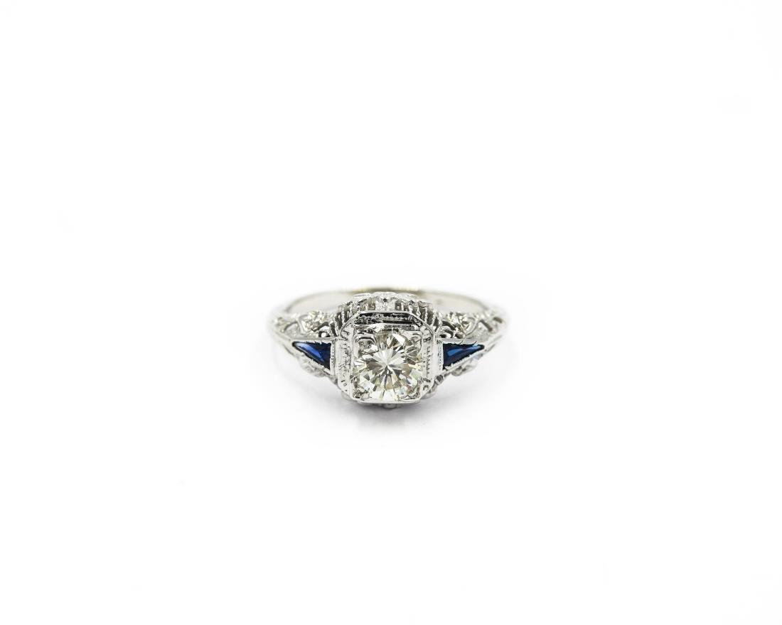 14K White Gold Art Deco Filigree Diamond Sapphire Ring