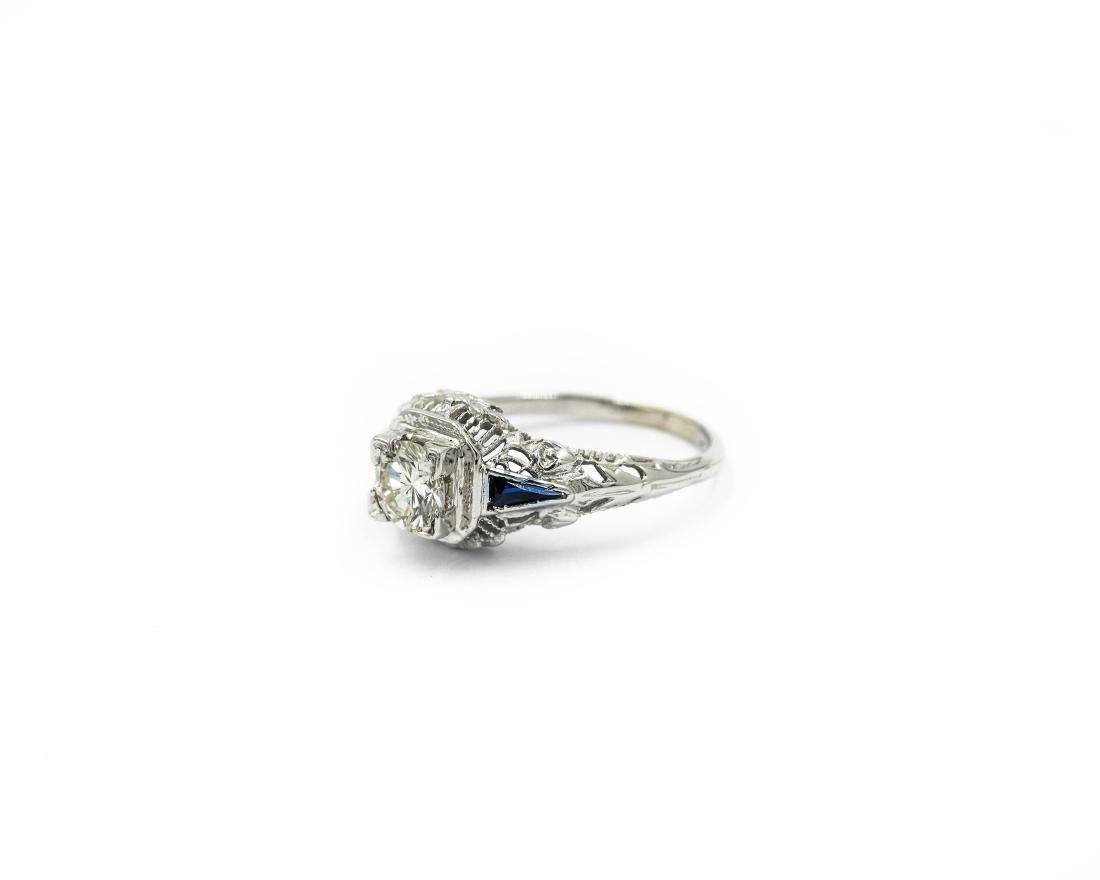14K White Gold Art Deco Filigree Diamond Sapphire Ring - 2