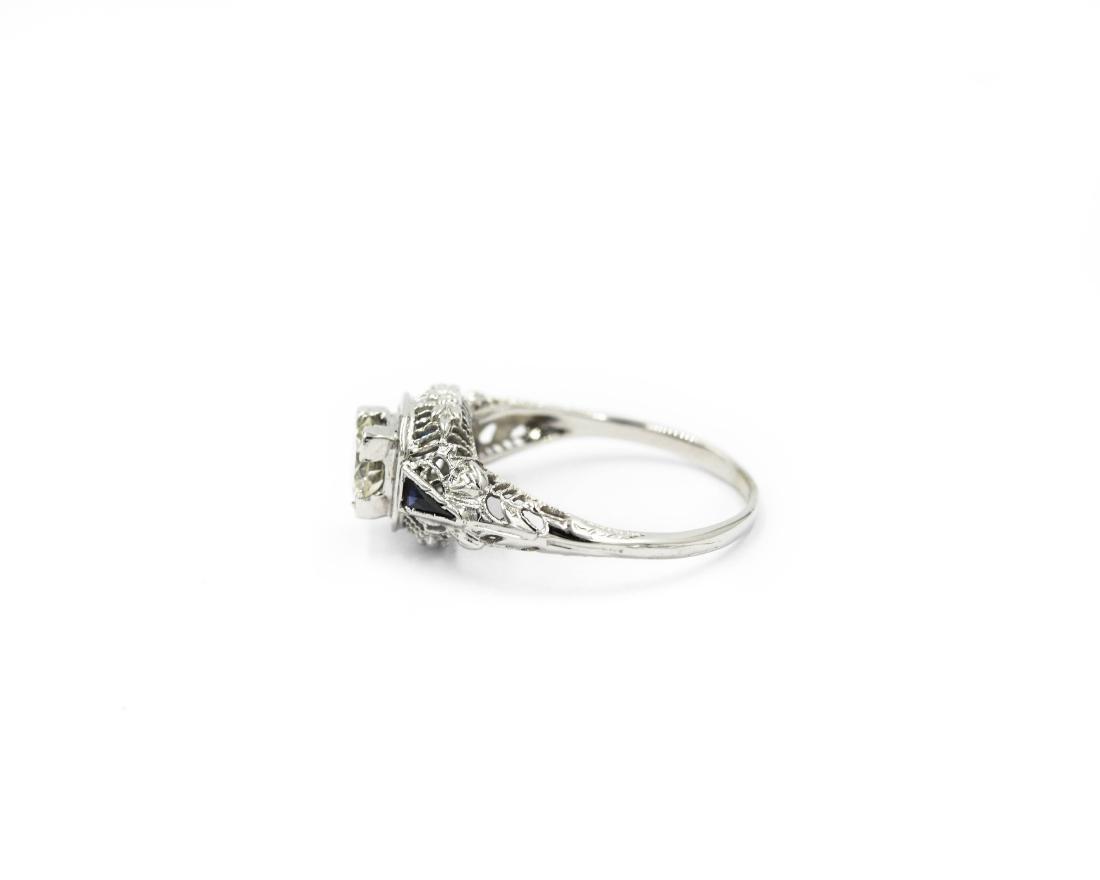 14K White Gold Art Deco Filigree Diamond Sapphire Ring - 3