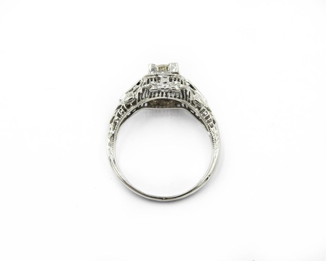 14K White Gold Art Deco Filigree Diamond Sapphire Ring - 4