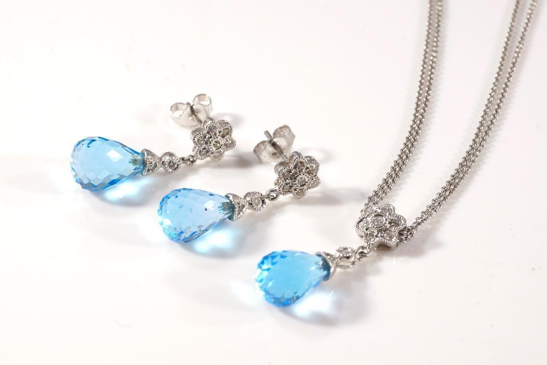Blue Topaz Pendant & Earring Set