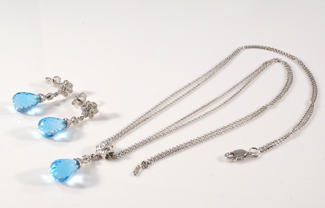 Blue Topaz Pendant & Earring Set - 2