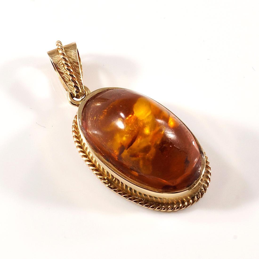 Amber Pendant 14 Kt. Yellow Gold