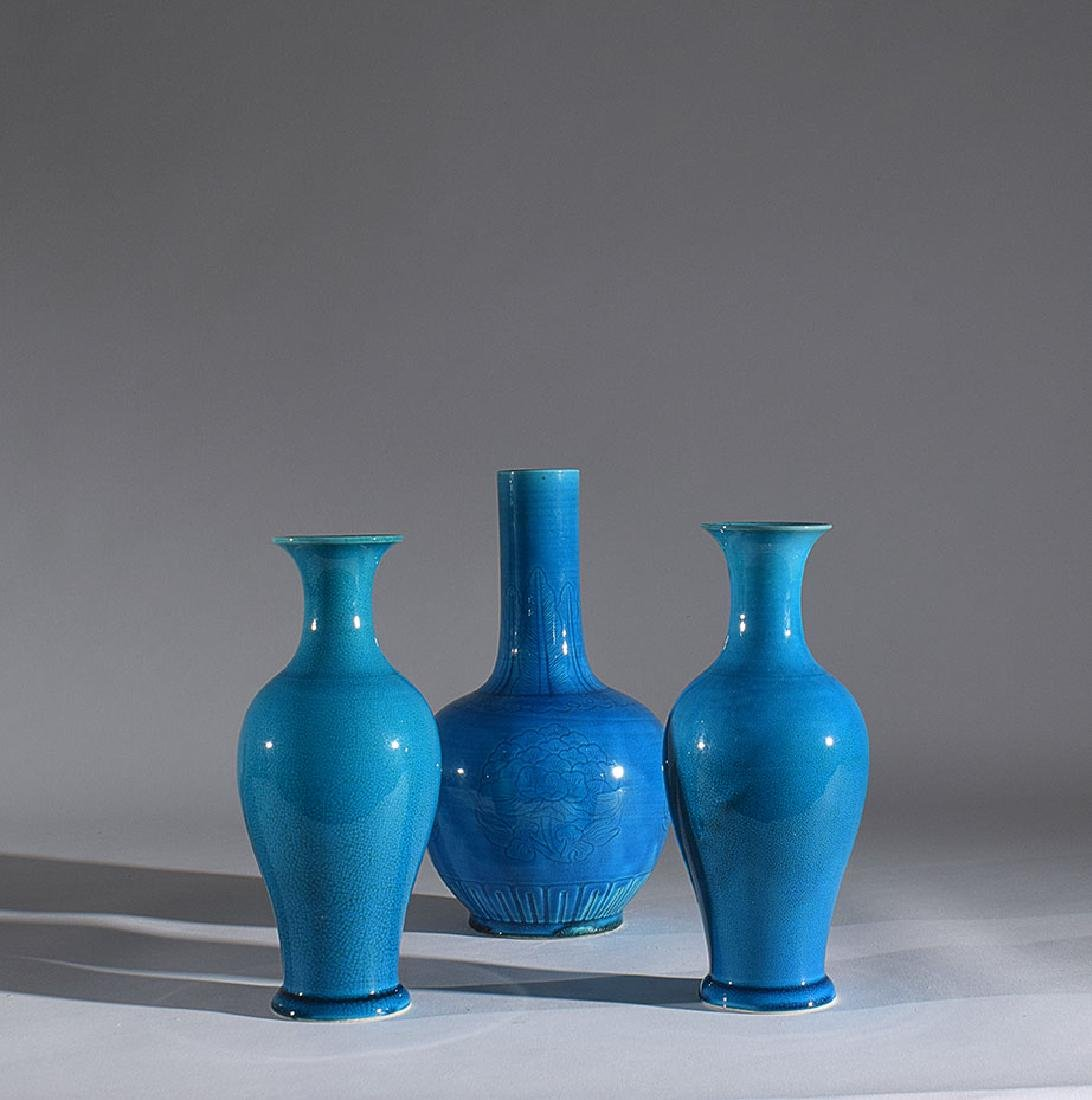A pair of Chinese turquoise vases