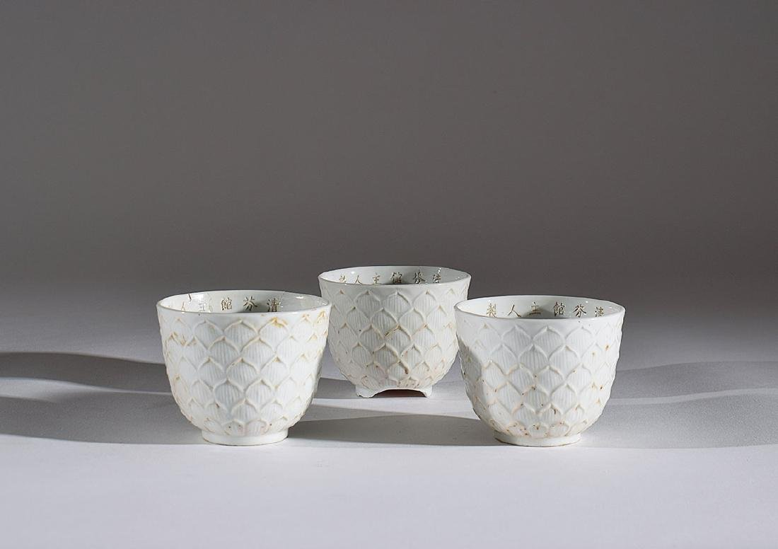 Three Chinese white porcelain cups