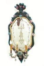 4 Venetian polychrome molten glass wall mirrors