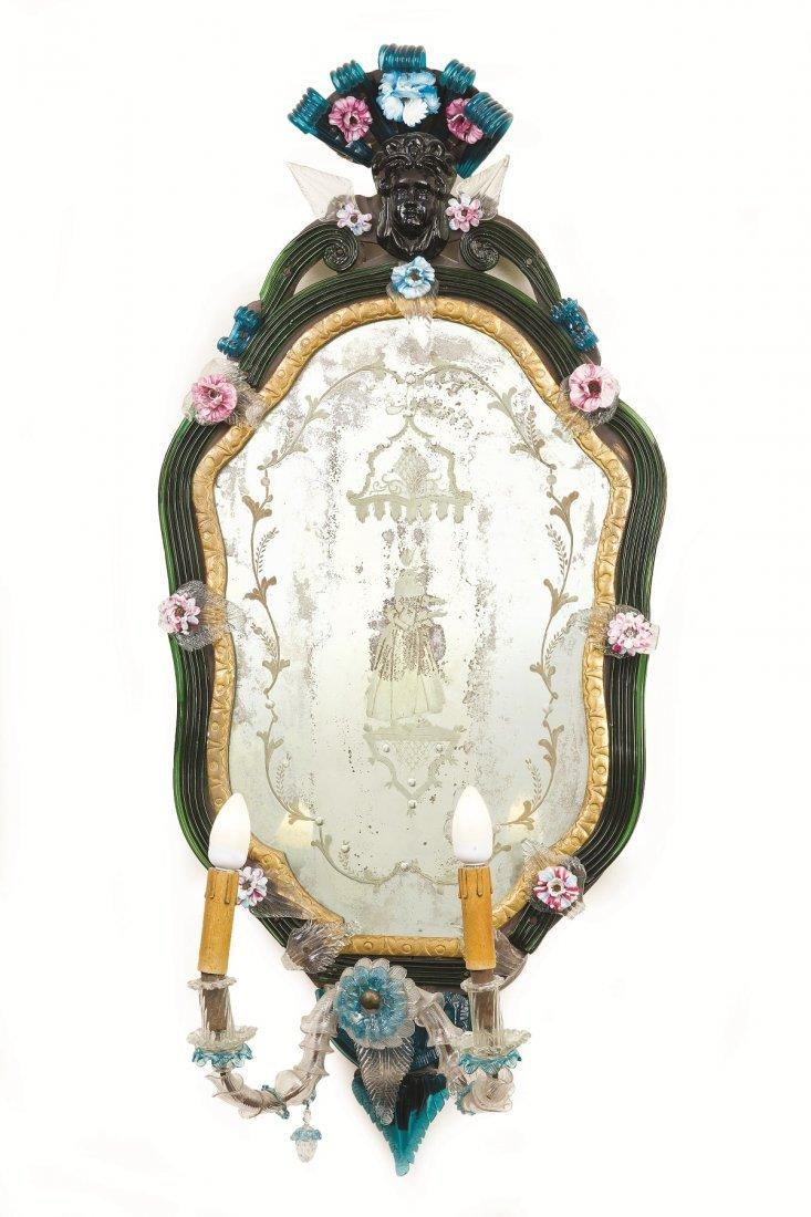 4 Venetian polychrome molten glass wall mirrors - 2