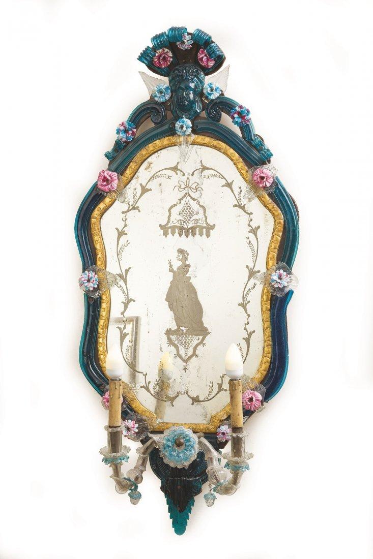 4 Venetian polychrome molten glass wall mirrors - 3