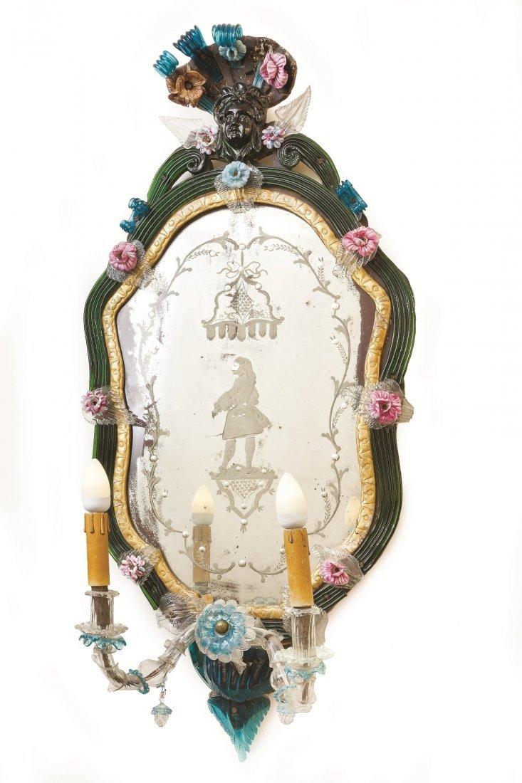 4 Venetian polychrome molten glass wall mirrors - 4