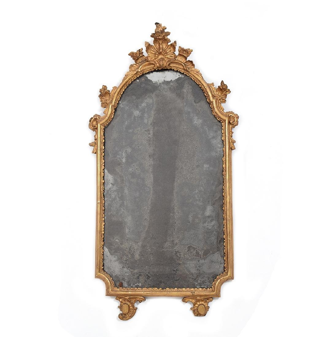 Competent 18th C French Oval Plate Mirror With Carved Oak Frame Pre-victorian (pre-1837)