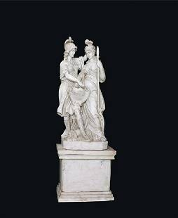 A pair of white marble female allegories