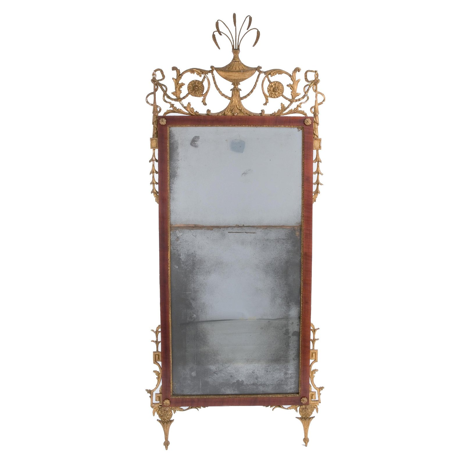 A Lucchese mahogany and gilt wood wall mirror