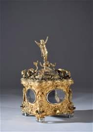 A beautiful French Napoleon III ormolu and crystal