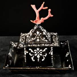 A Limoges enamel and red coral inkwell