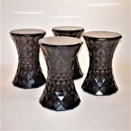 4 black polycarbonate Stone stool