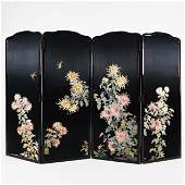 A Chinese four-panel embroidered silk screen
