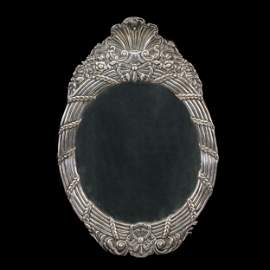 A silver covered oval frame, 19th century