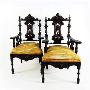 A French carved oak sitting service, 19th century