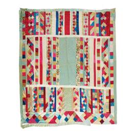 An American patchwork silk quilt, 19th-20th century