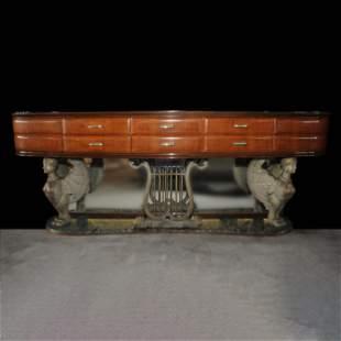 An Italian walnut venereed and marble sideboard