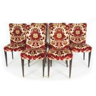 6 velvet coated mahogany chairs, '50s