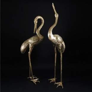 2 gilt bronze figures of an heron