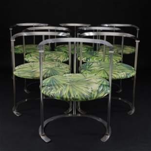 8 Catilina chrome metal chairs