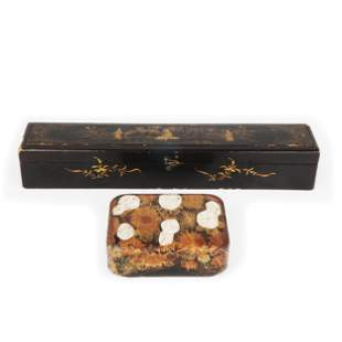 2 Oriental gilding painted black lacquer boxes, 19th